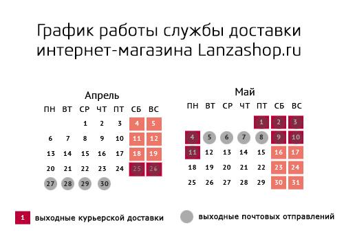 График работы службы доставки и пункта самовывоза интернет-магазина Lanzashop.ru
